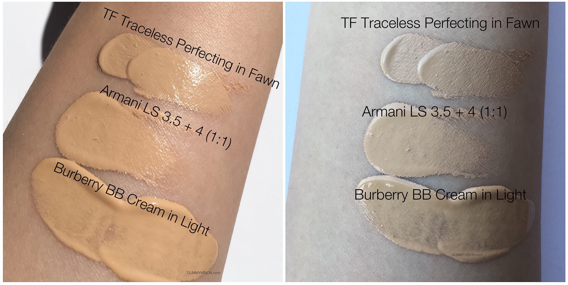Comparison swatches, L - sunlight, R - inside light: Burberry Fresh Glow BB Cream SPF20 in Light - gummyvision.com