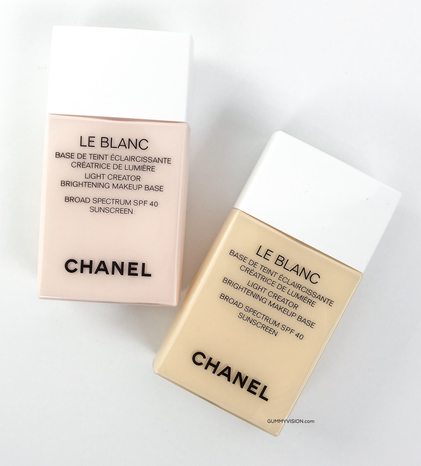 Chanel Le Blanc Light Creator Brightening Makeup Base in Rosee and Mimosa