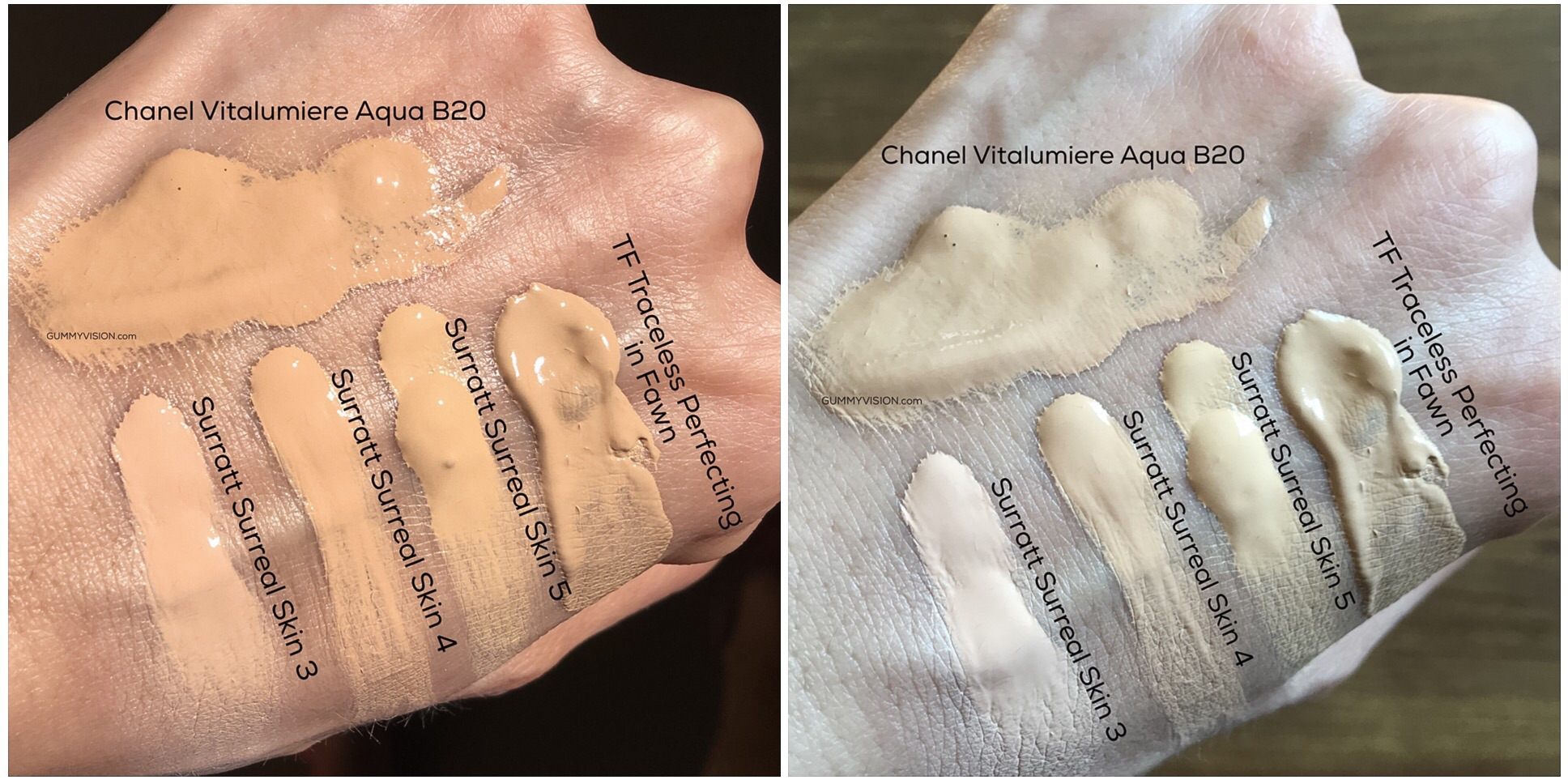 Surratt Surreal Real Skin Foundation Wand color comparisons (L - sunlight, R - indoor window light)