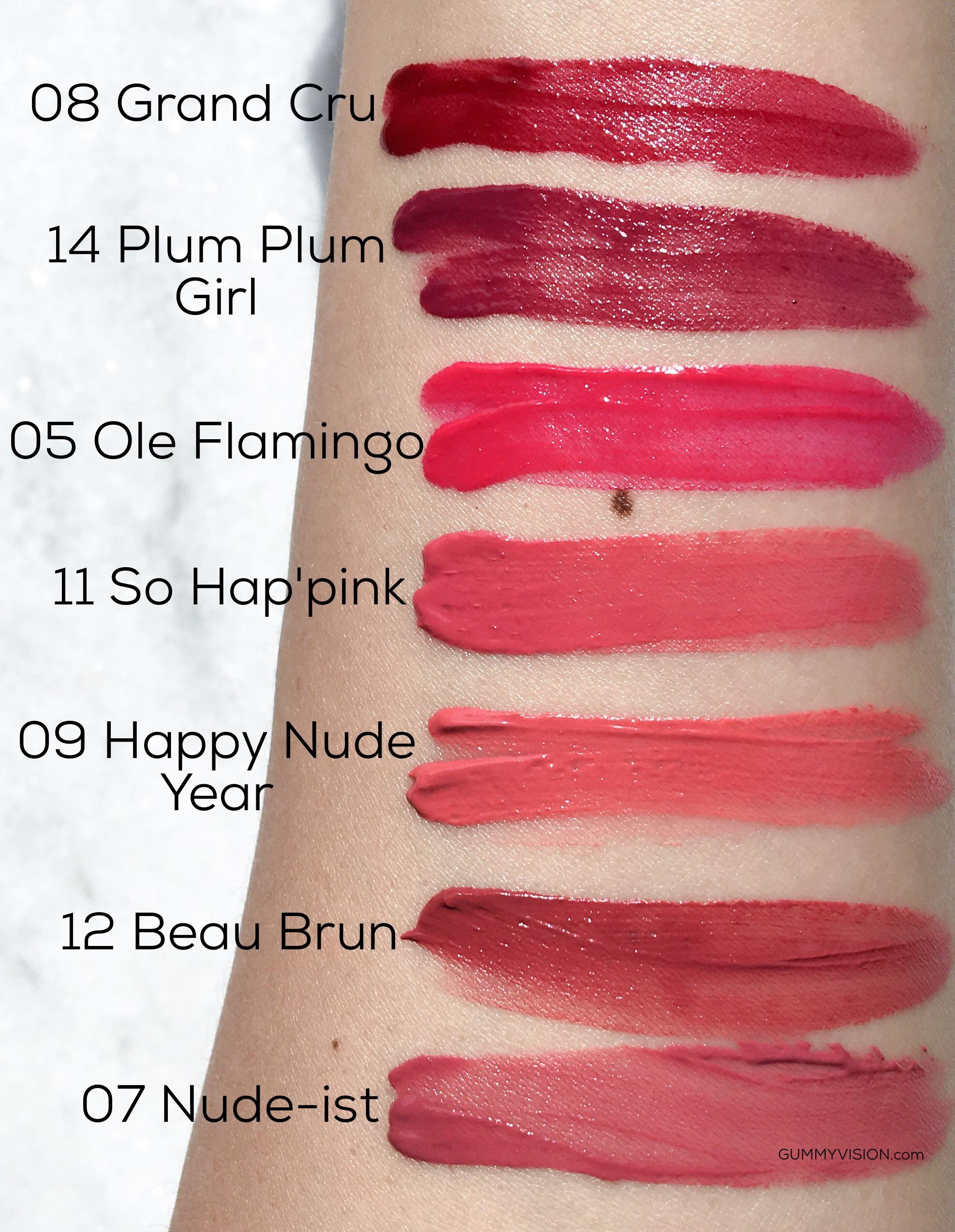 Bourjois Rouge Edition Velvet Lipsticks (Bottom to Top): 07 Nude-ist, 12 Beau Brun, 09 Happy Nude-Year, 11 So Hap'pink, 05 Ole Flamingo, 14 Plum Plum Girl, 08 Grand Cru