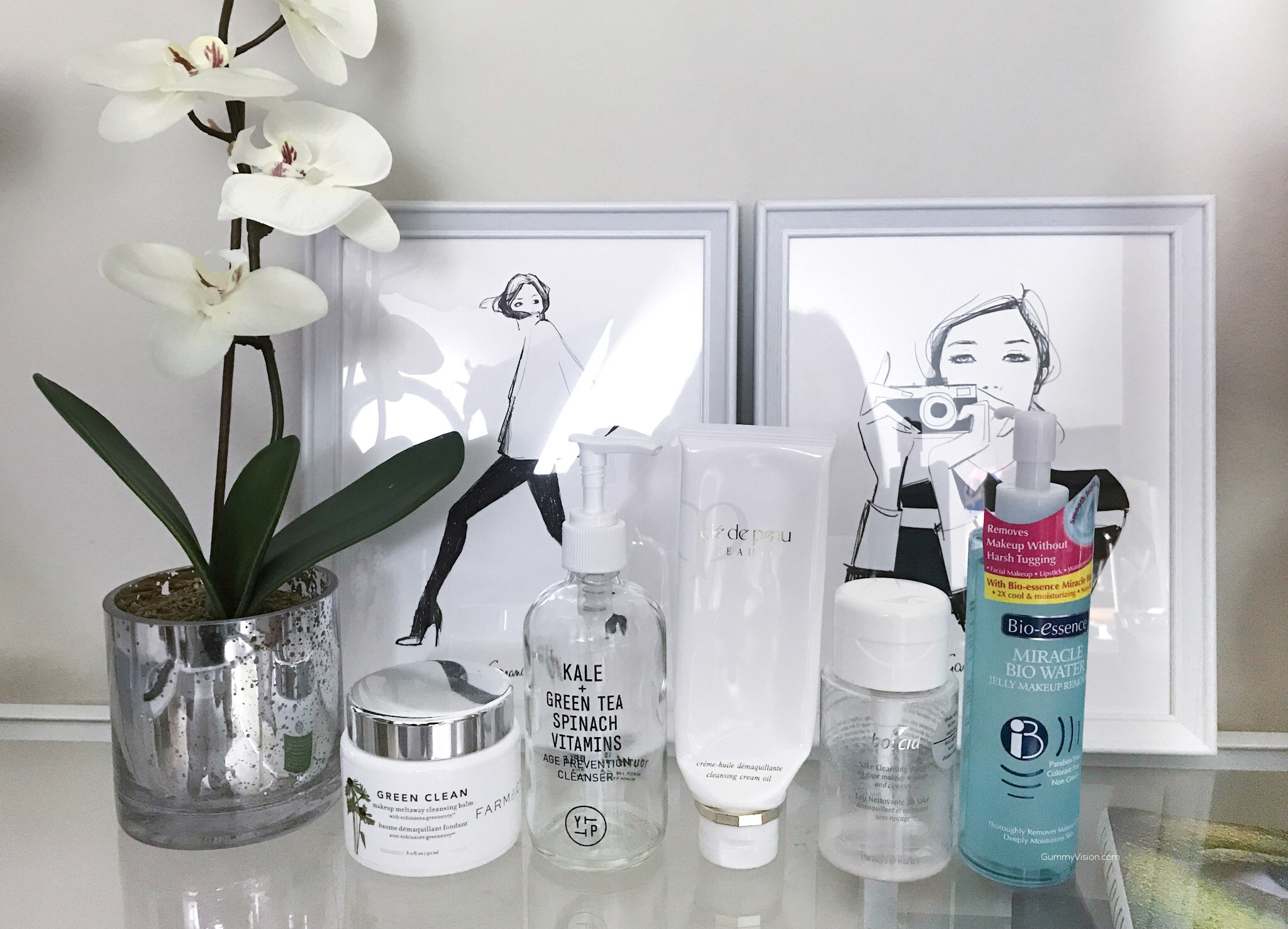 L to R: Farmacy Green Clean Makeup Meltaway Cleansing Balm, Youth to the People Age Prevention Cleanser, Cle de Peau Cleansing Cream Oil, Boscia Sake Cleansing Water, Bio-Essence Miracle Bio Water Cleansing Jelly Makeup Remover