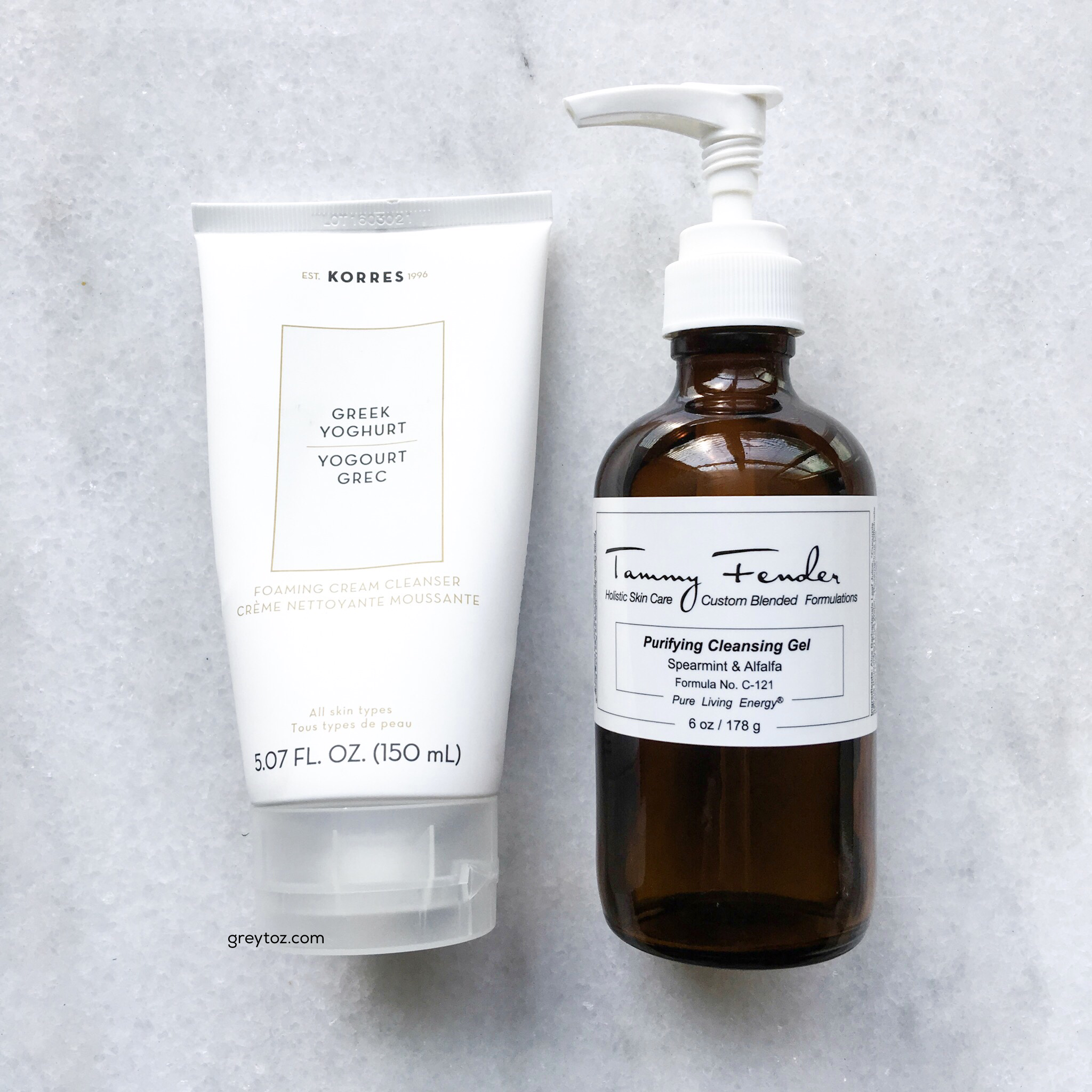 Cleansers: Korres Greek Yoghurt Foaming Cream Cleanser & Tammy Fender Purifying Cleansing Gel - greytoz.com