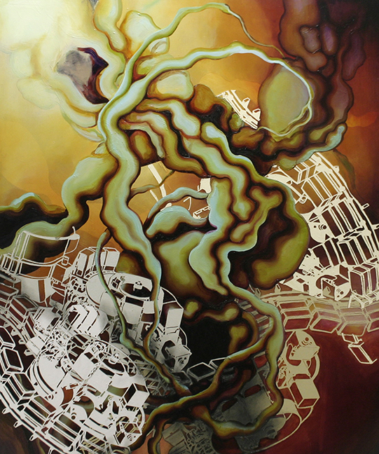 "Tripartition  Oil wax and paper on panel  60"" x 48""   2007"