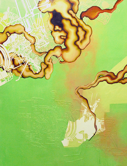 """Zygote  Oil and paper on panel  60"""" x 48""""  2007"""
