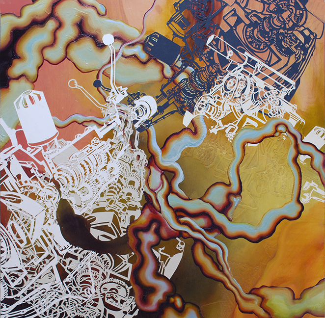 "Convergence  Oil and paper on panel  48"" 48""   2008"