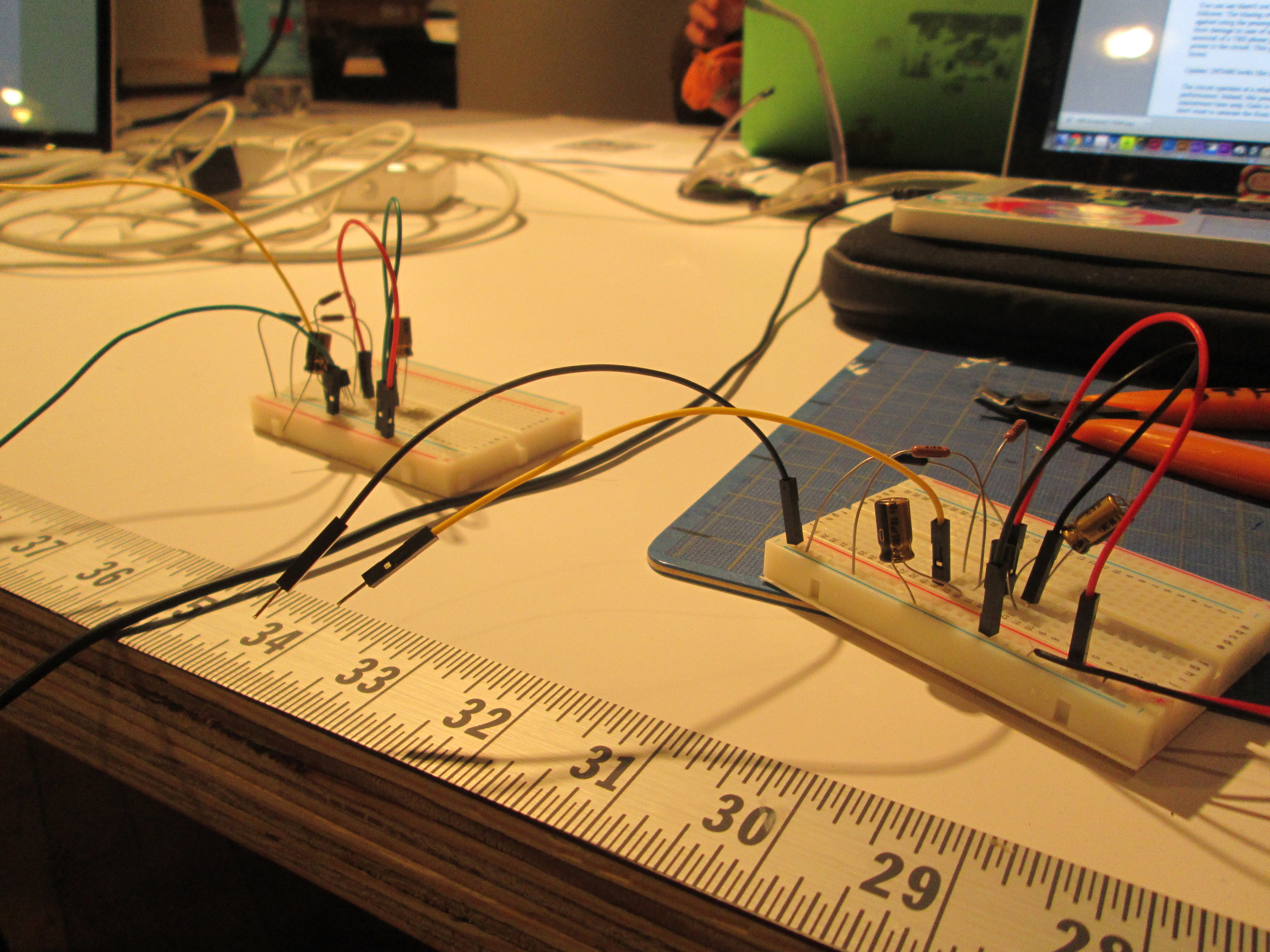 breadboarded audio-phile pre-amps for piezo contact mics.