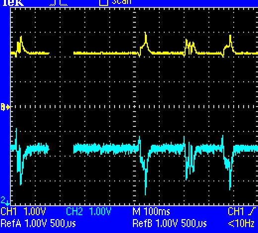Yellow is Rectifier Signal - Blue is PMT out.