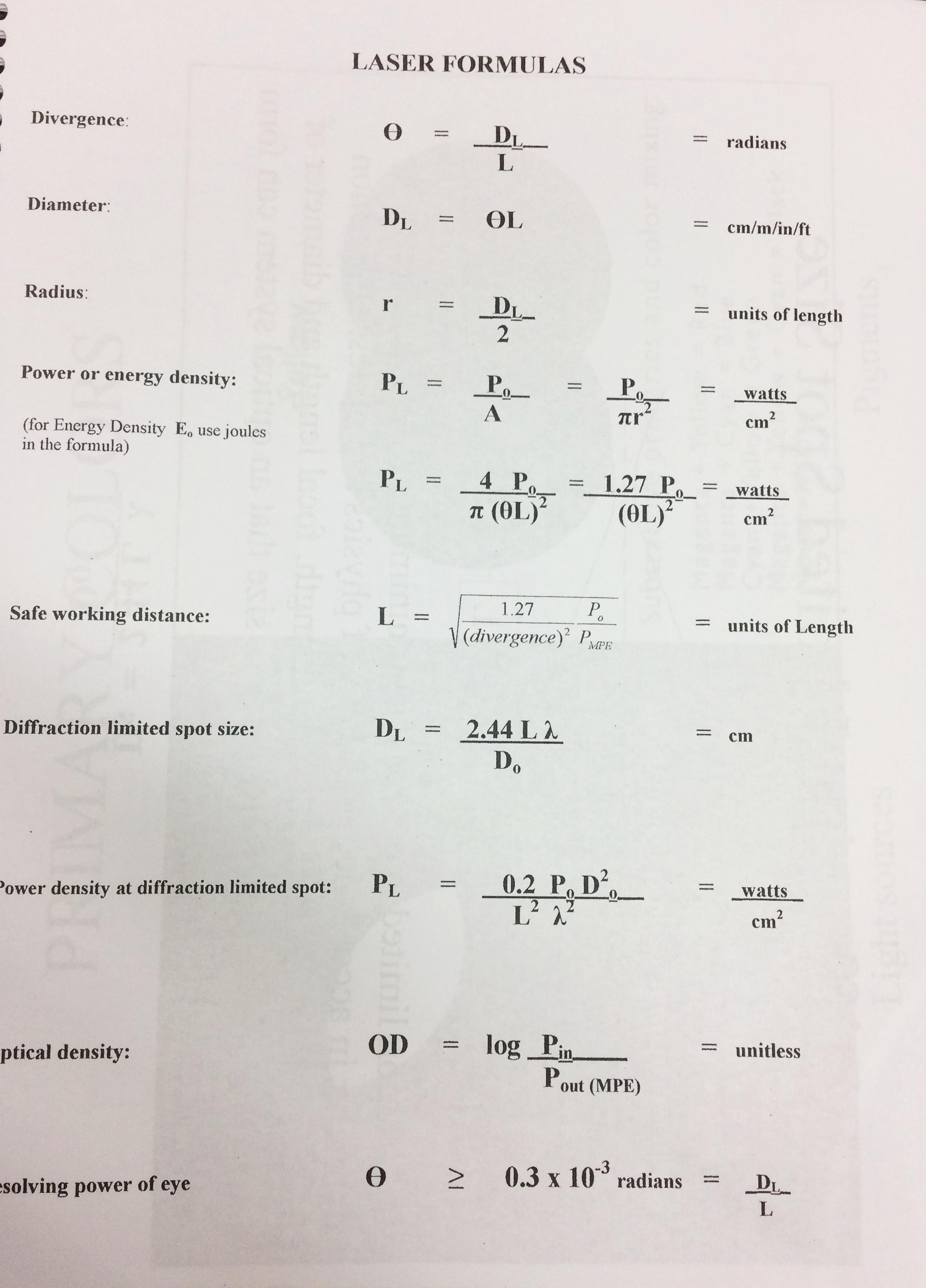 formulas used for laser certification test.