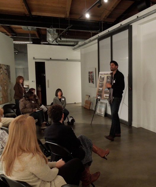 Giving a talk at ArtHaus gallery