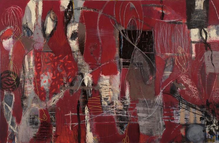 "Michael Gadlin's ""Arousal in Red,"" mixed media on linen panel."