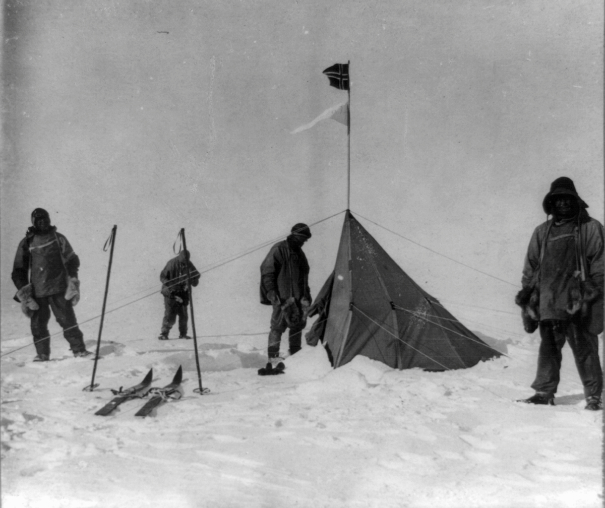 Robert Scott and his men at Roald Amundsen's base, Polheim, at the South Pole.
