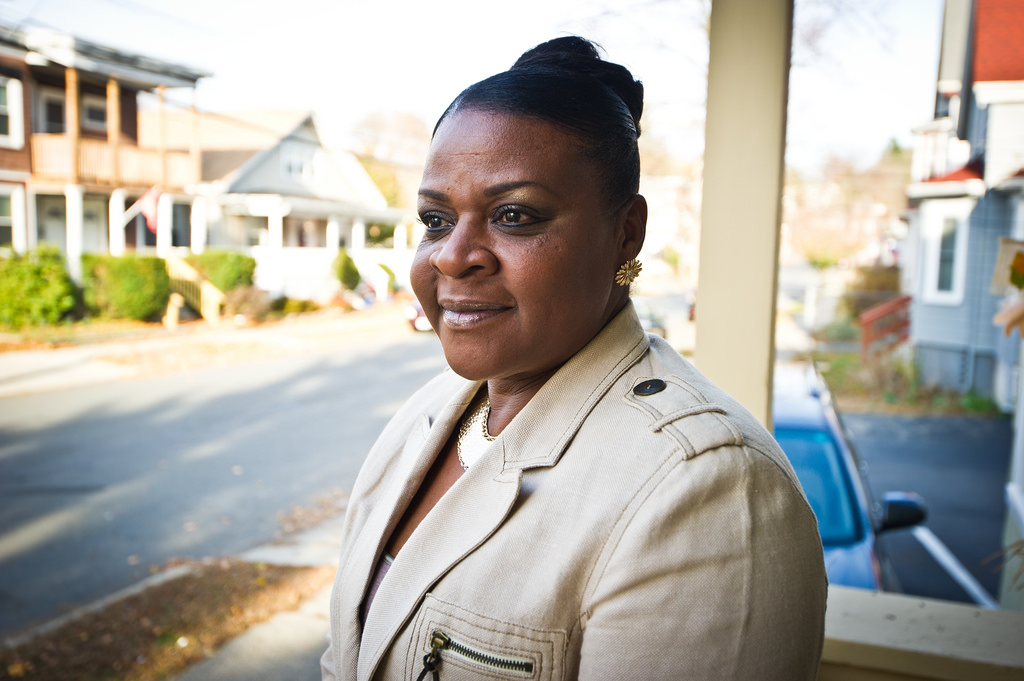 Rosa Paulino is a graduate of the Compass Family Self-Sufficiency program operated in Lynn. With the support of her Compass financial coach, Rosa was able to reach her goal of moving out of subsidized housing and into her own home. Photo by Geoff Hargadon