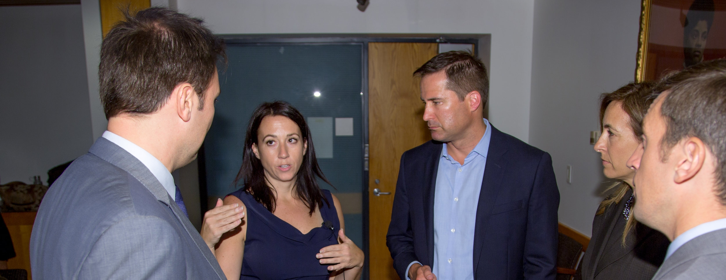 Emily Cherniack speaking with Massachusetts Rep. Seth Moulton (center) and several of the candidates she supports in 2018 House races, (far left) former Marine Corps sargeant Roger Dean Huffstetler of Virginia; (second from right) former Navy helicopter pilot Mikie Sherrill of New Jersey; and (far right) Army vet Dan Feehan of Minnessota. The group spoke at a September 9 event at the Harvard University's Kennedy School's Center for Public Leadership on the positive impact that service veterans can have on our politics. Photo Tom Fitzsimmons/Center for Public Leadership, Harvard Kennedy School.
