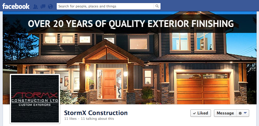StormX Construction Branded Facebook Page