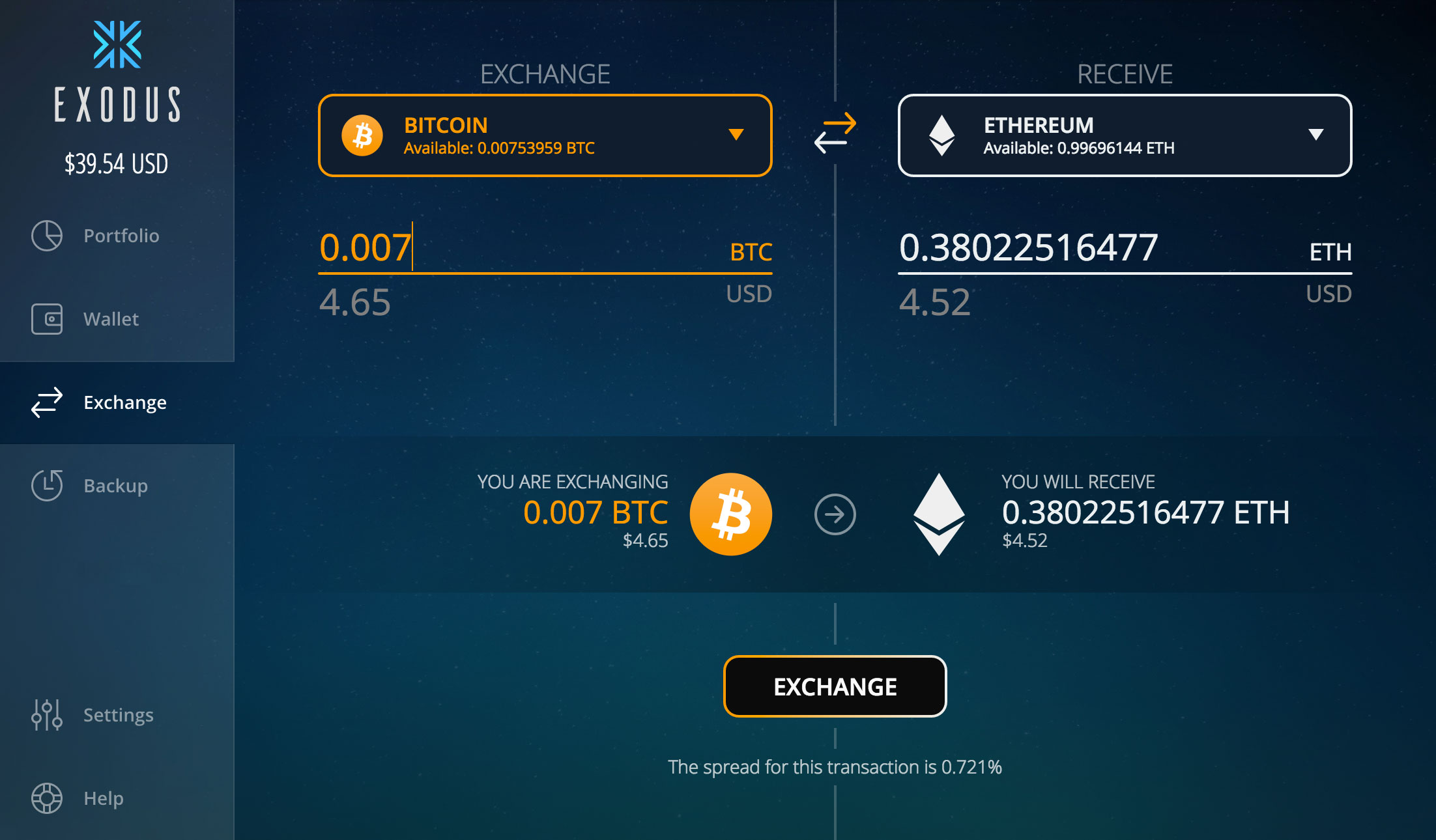 The Exodus Exchange, a slick implementation of Shapeshift directly in the app.