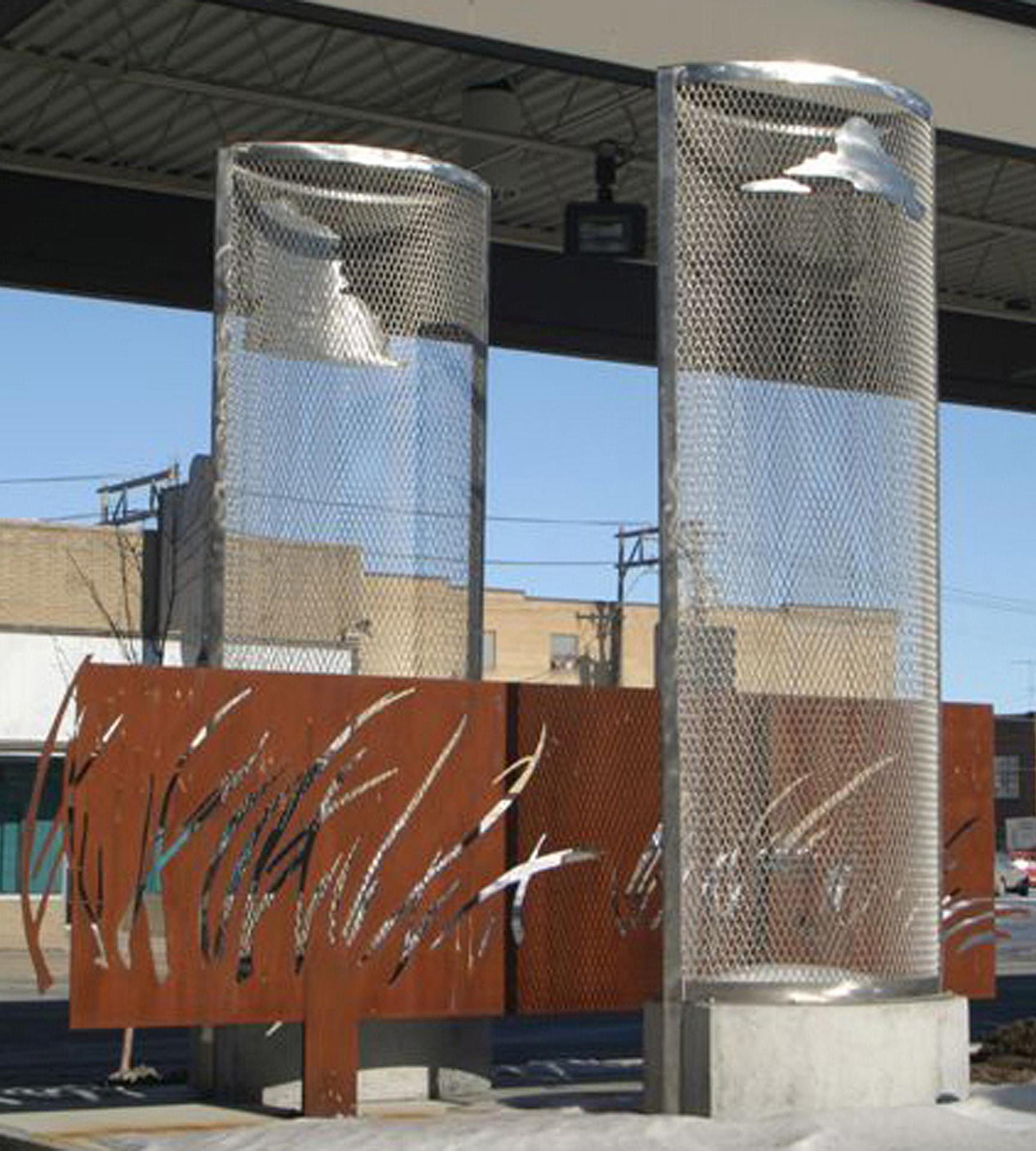Earth : Heaven / Prairie : Sky , Fargo Metro Transit, 12' x 8' x 14', stainless steel expanded metal, Corten steel, concrete.