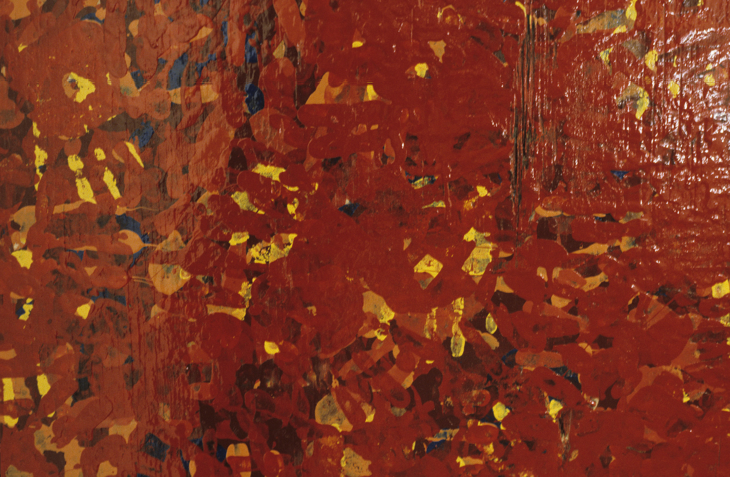 Detail, The Counting. Bulletin enamels on wood panel. Hundreds of handprints in several colors are layered.