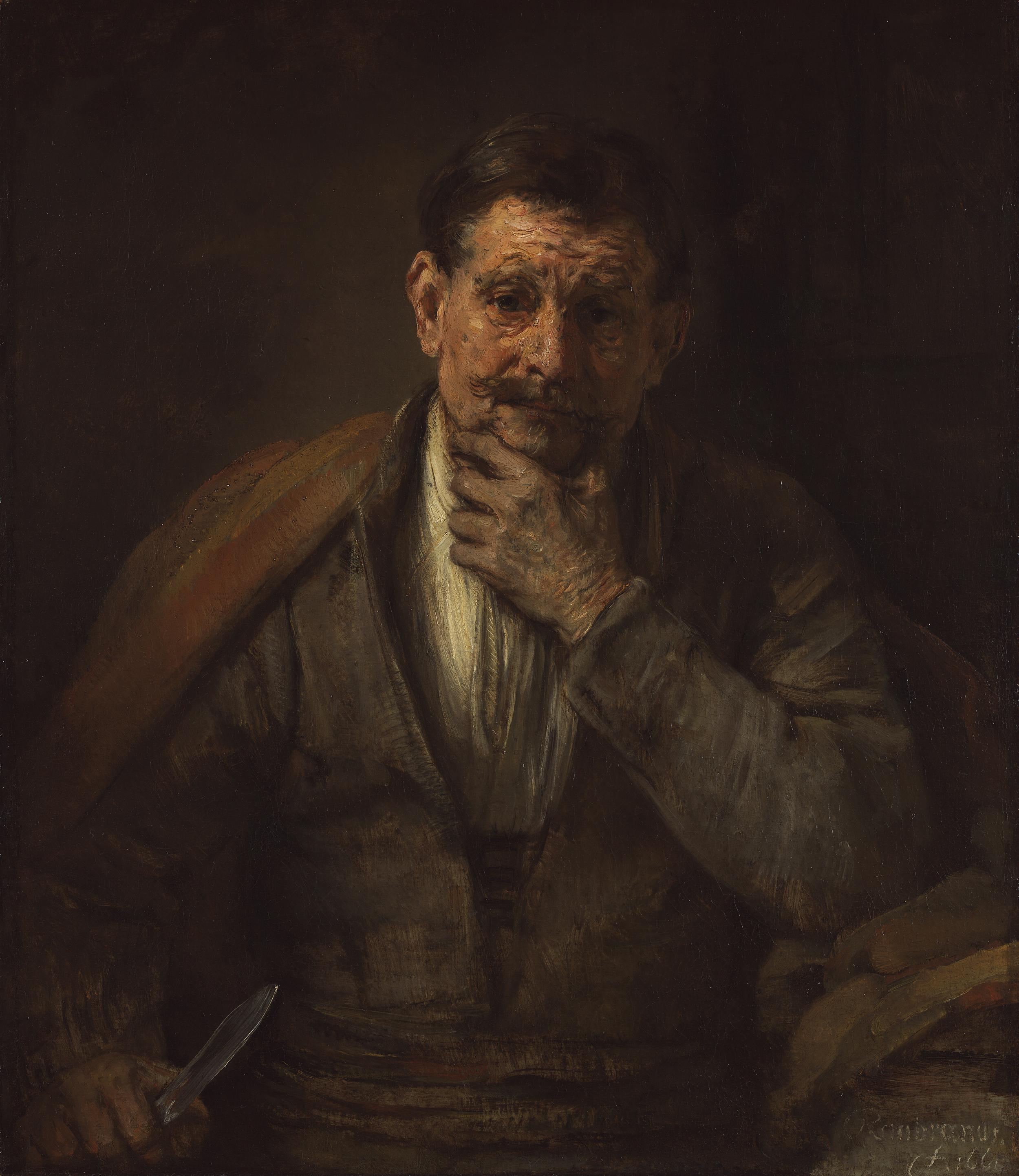 Rembrandt Harmensz. van Rijn (Dutch, 1606 - 1669)   St. Bartholomew  , 1661, Oil on canvas   86.7 x 75.6 cm (34 1/8 x 29 3/4 in.)   The J. Paul Getty Museum, Los Angeles