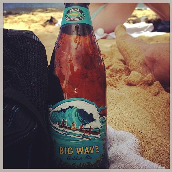 Big Wave Golden Ale on Poipu Beach