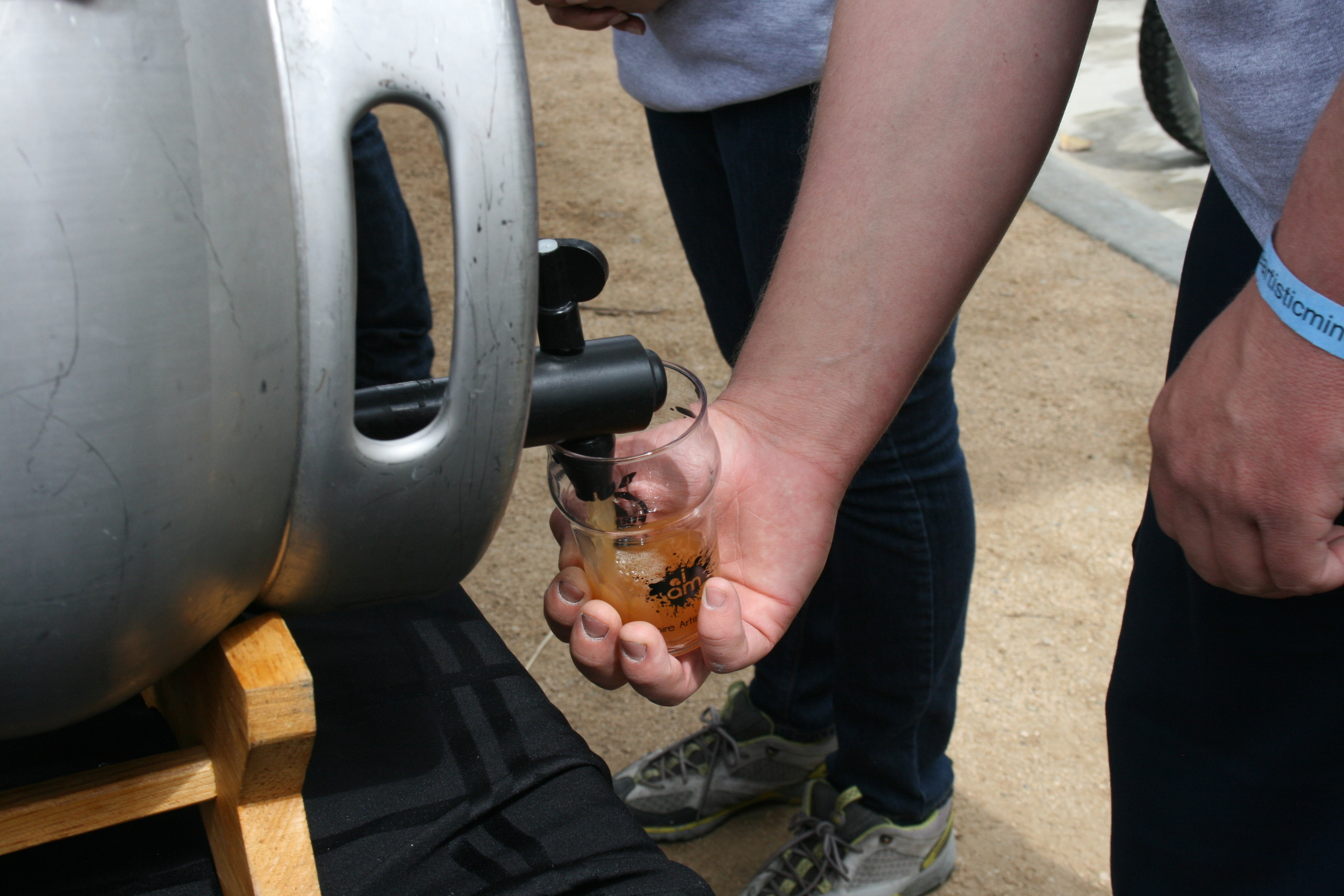 Pouring a cask IPA
