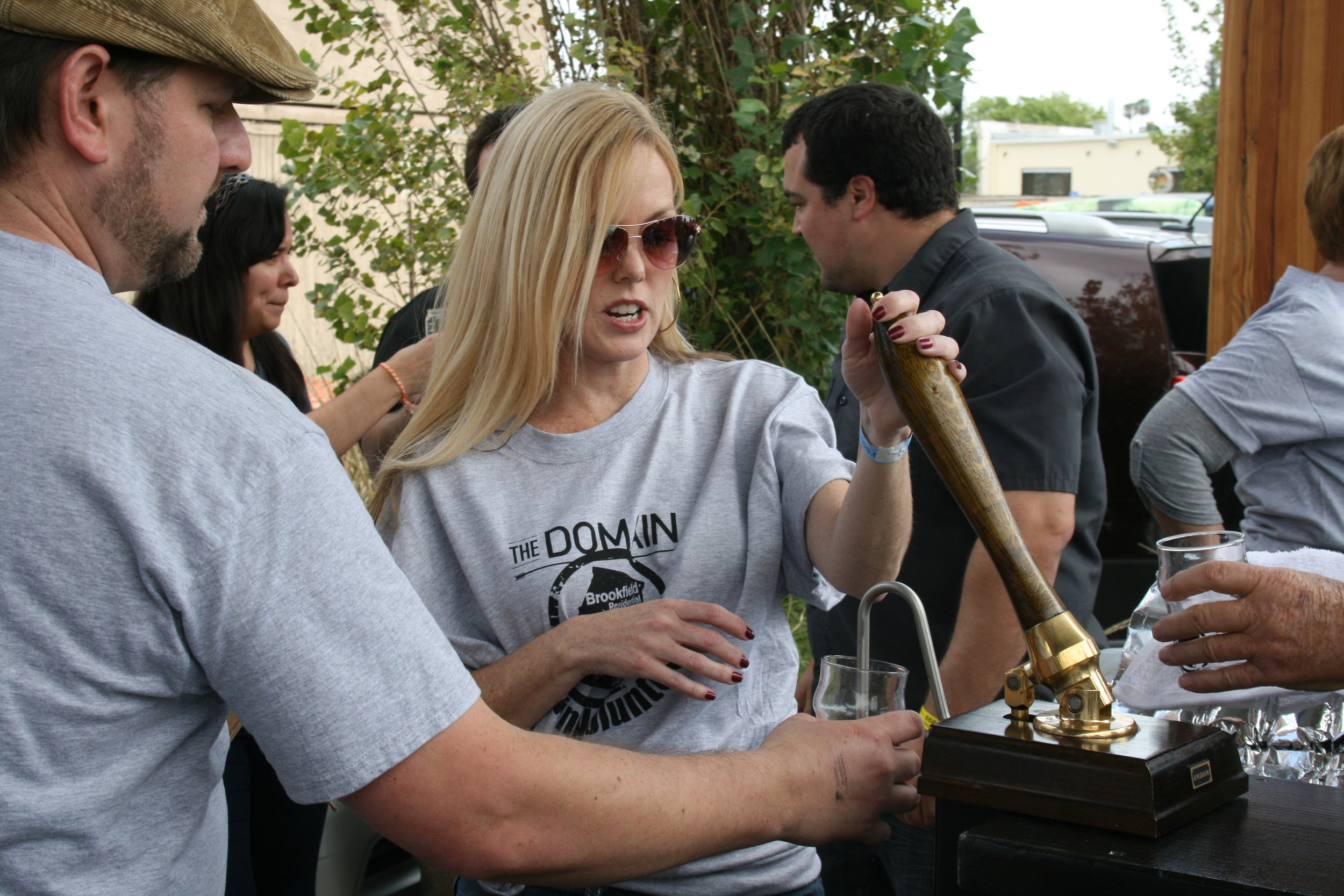 Festival organizer Greg Nagel gets first pull. The perks of running your own beer festival.