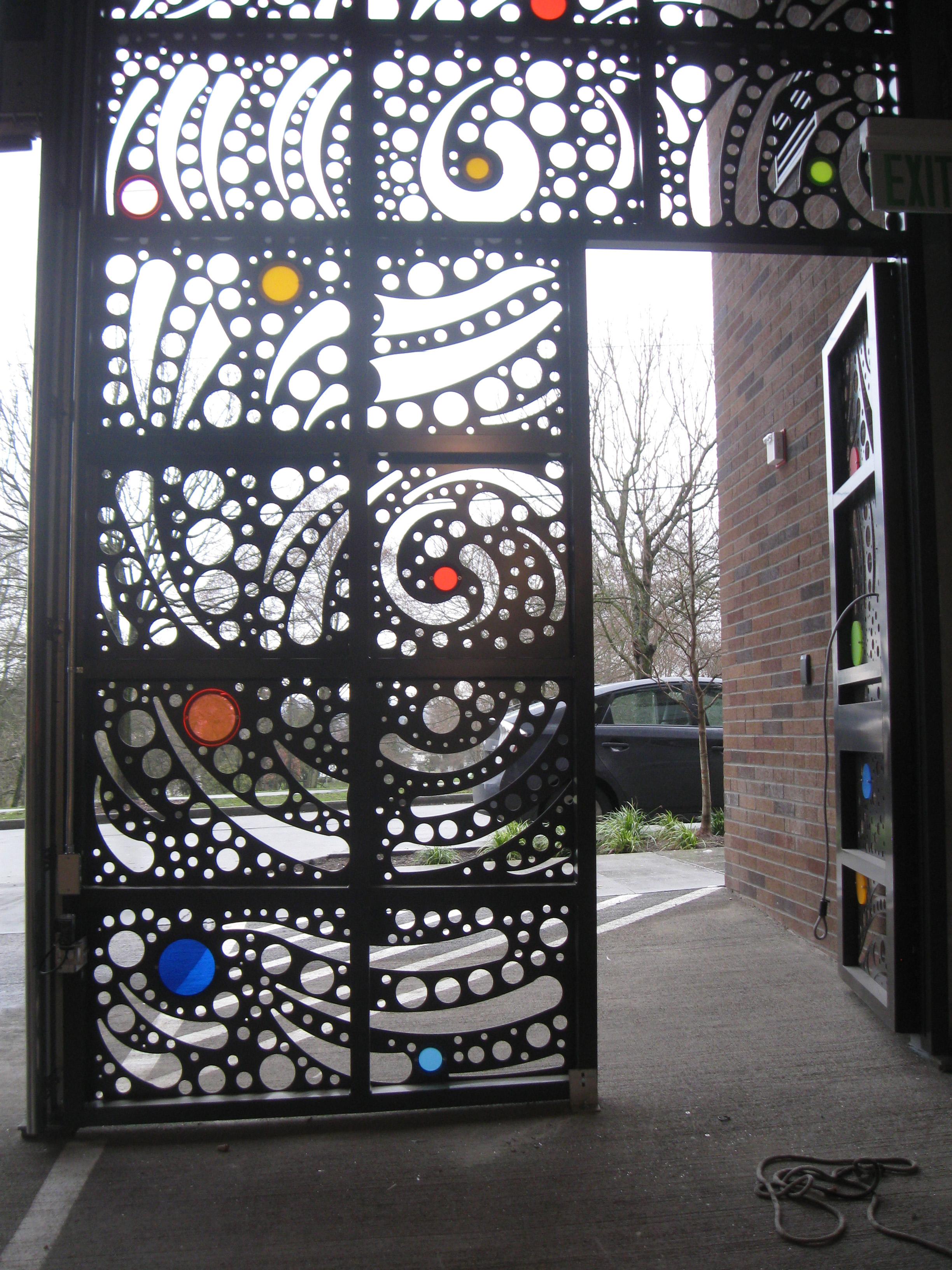 """Station Building Garage door"" detail, laser cut aluminum, 2011"