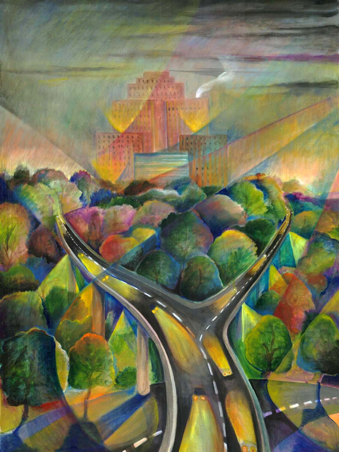 """Amazon Building"", acrylic on canvas, 24""x30"", 2004"