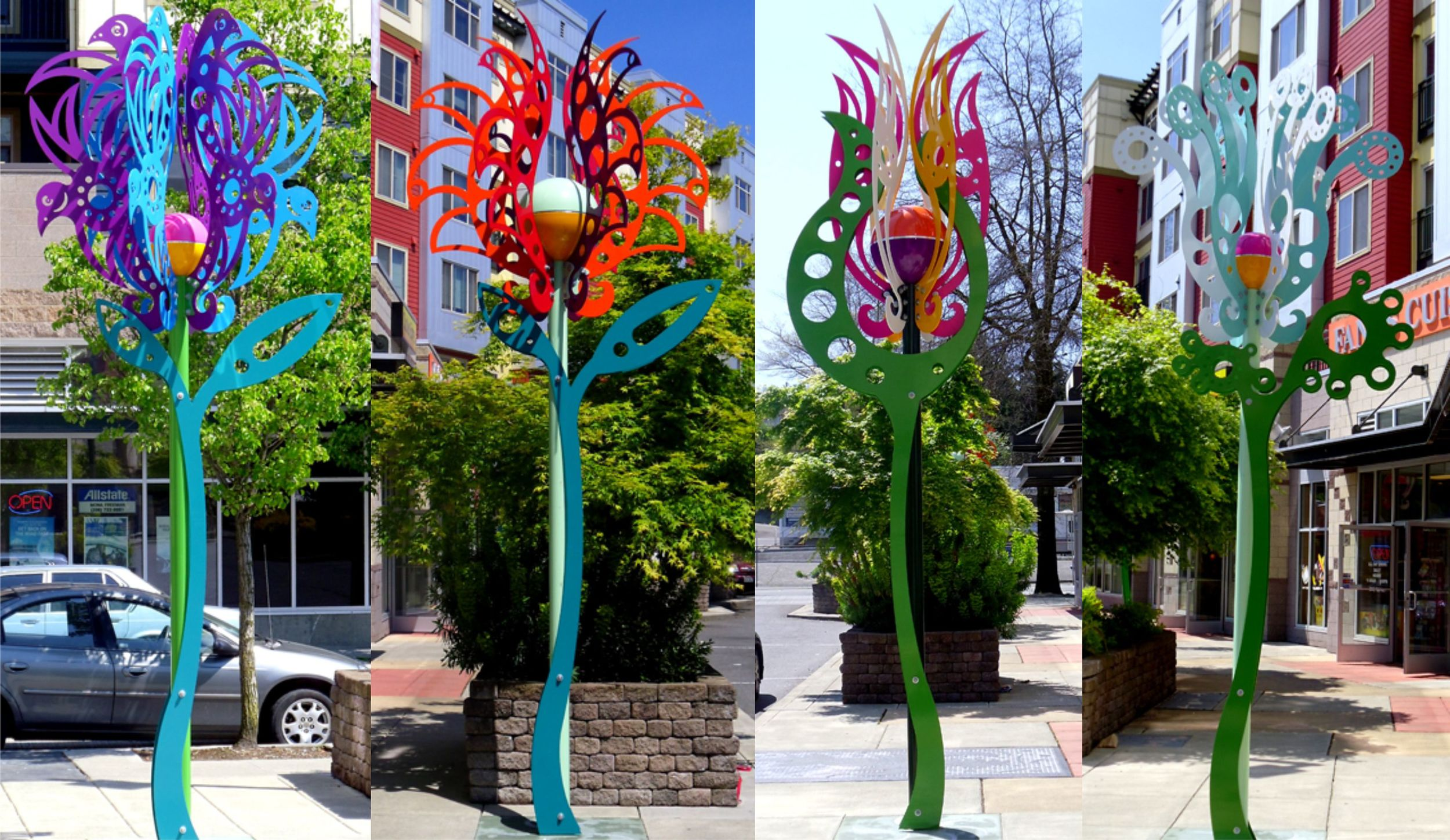 """Rainier Court Flowers"", laser cut steel, 15'x5'x5', 2011"