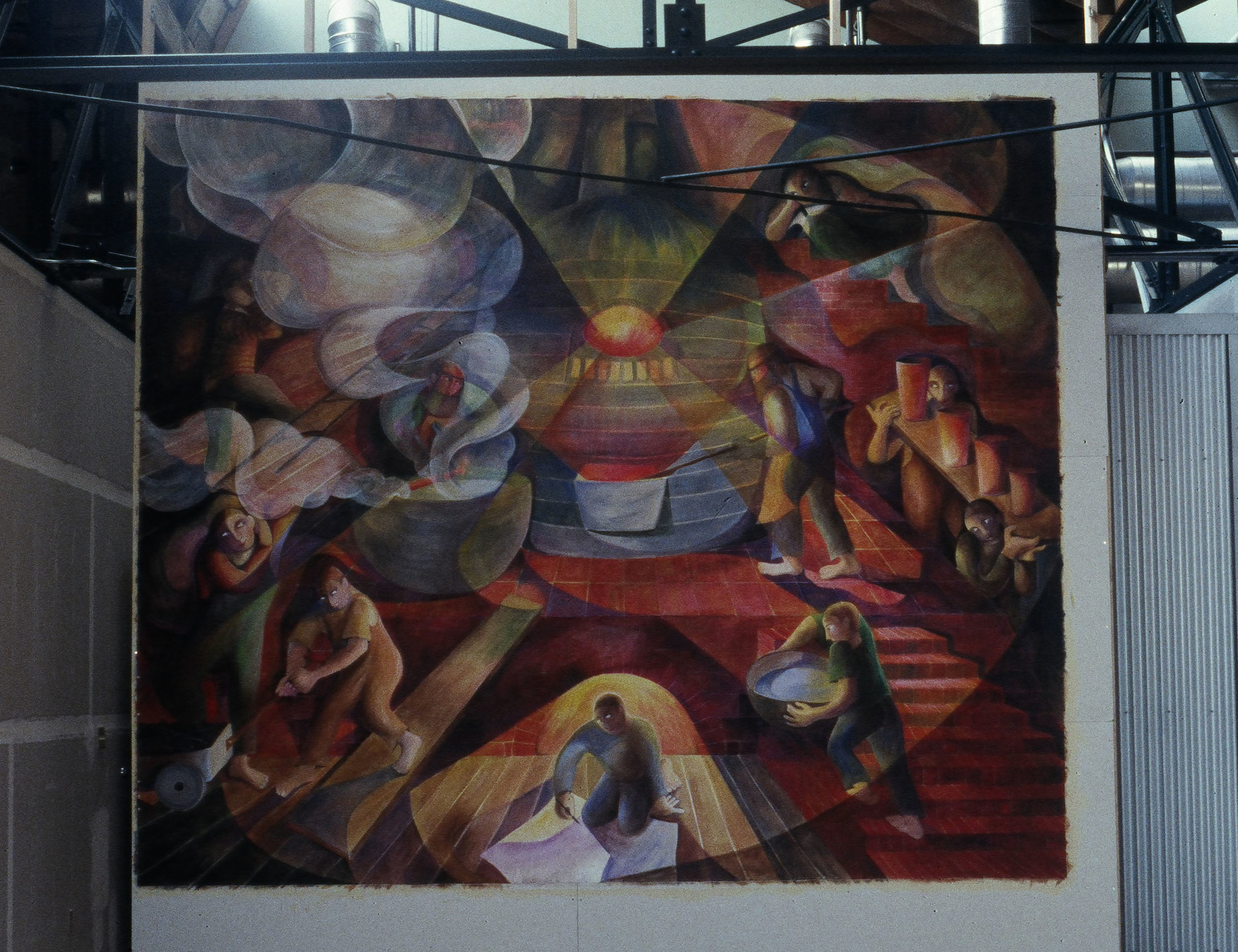 """Rainier Oven Building Mural"", acrylic on canvas, 16'x14', 1998"