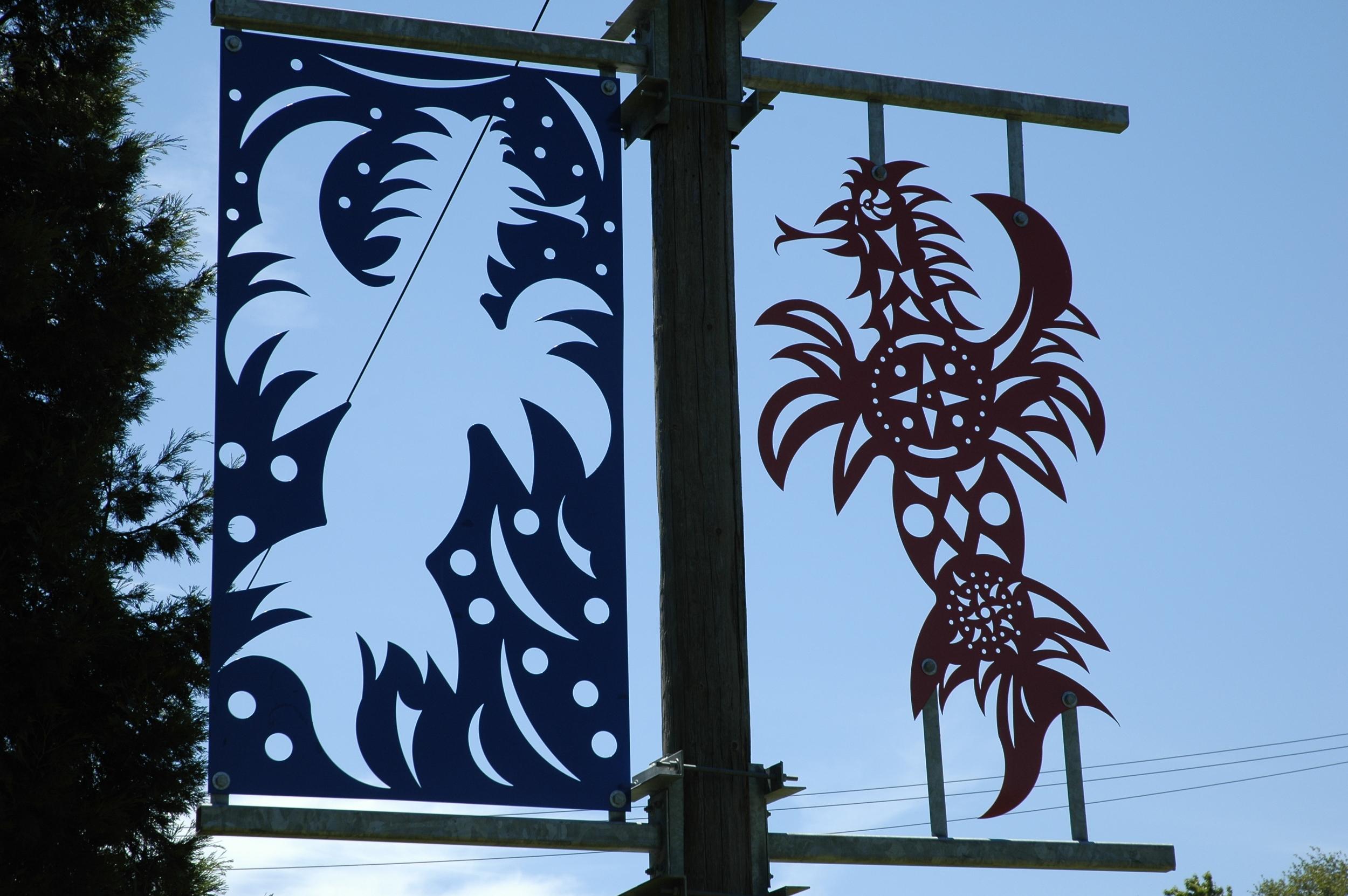 """""""Othello Park Banner, Phoenix"""", laser cut steel, 10'x8', 2002"""