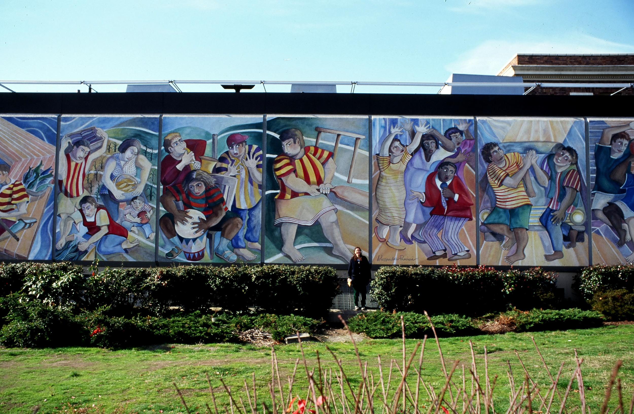 """""""Rainier Valley Neighbors"""", acrylic mural, 84'x16', 1995"""