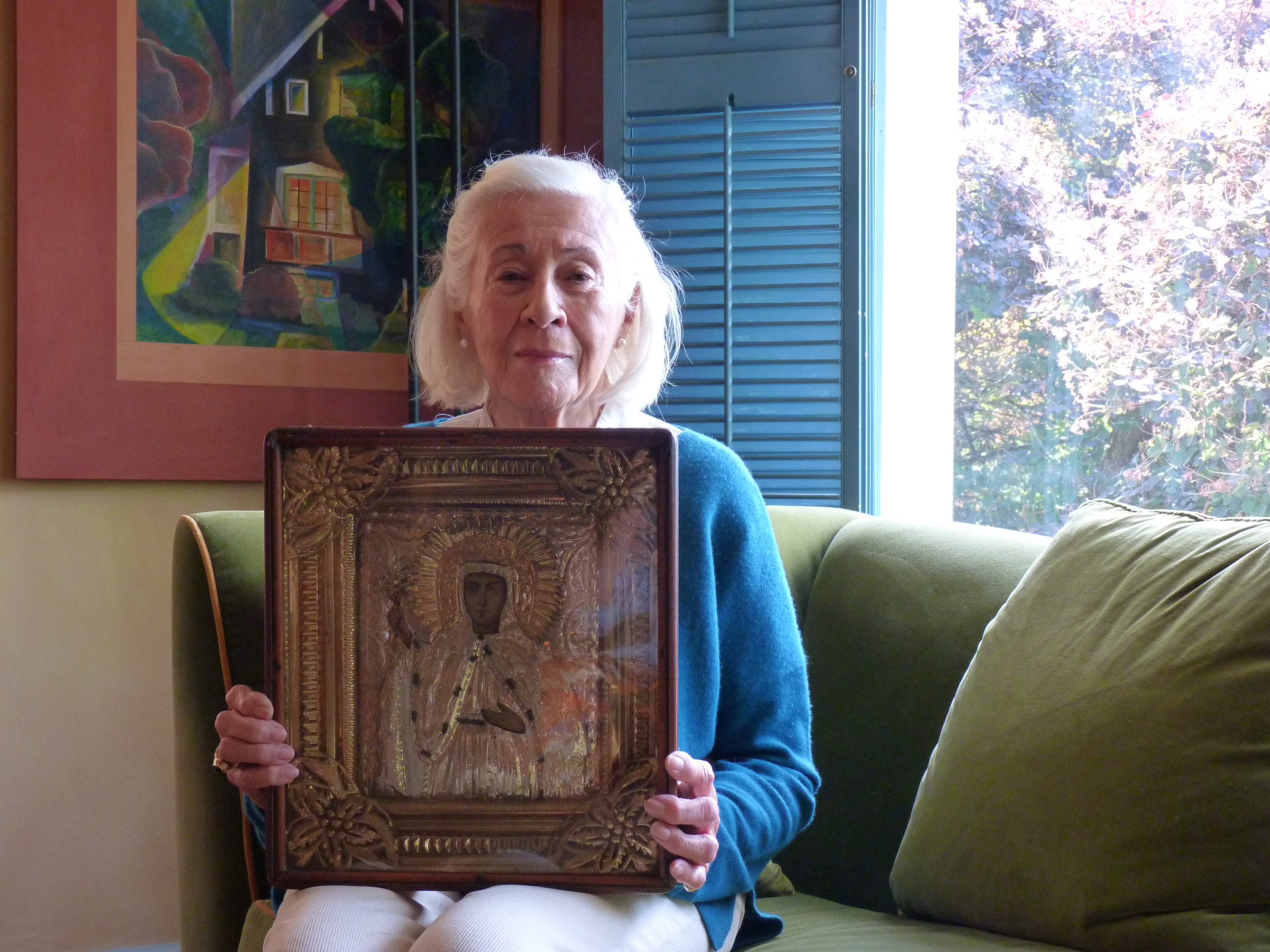Nonna Mimma presenting the St Parascheva icon, June 2014
