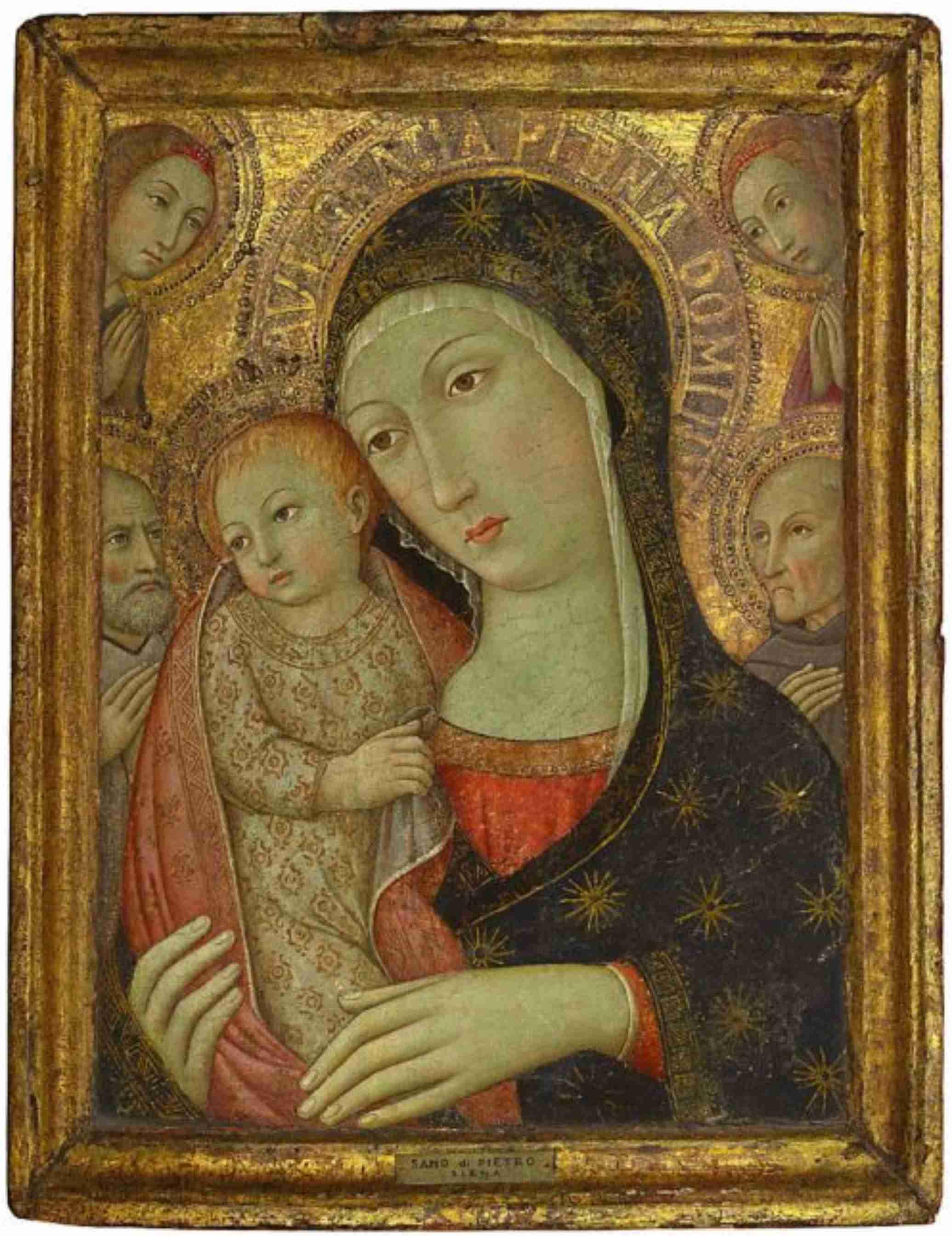 Sano di Pietro (Siena 1406-1481),The Madonna and Child with Saint Bernardino of Siena