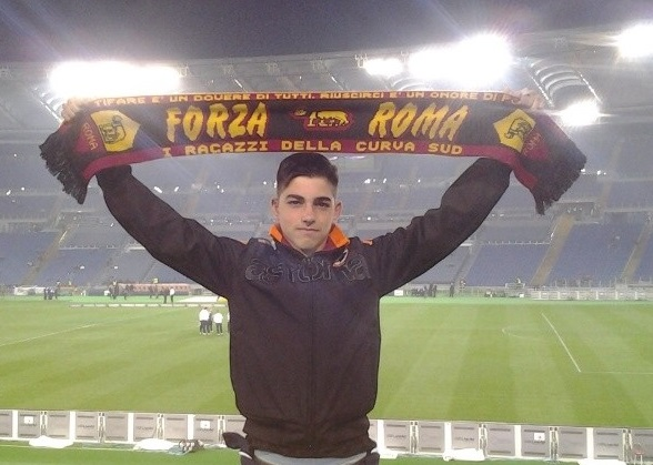 Met Oval player Gianfranco Barone at a Champions League AS Roma match he was invited to attend.