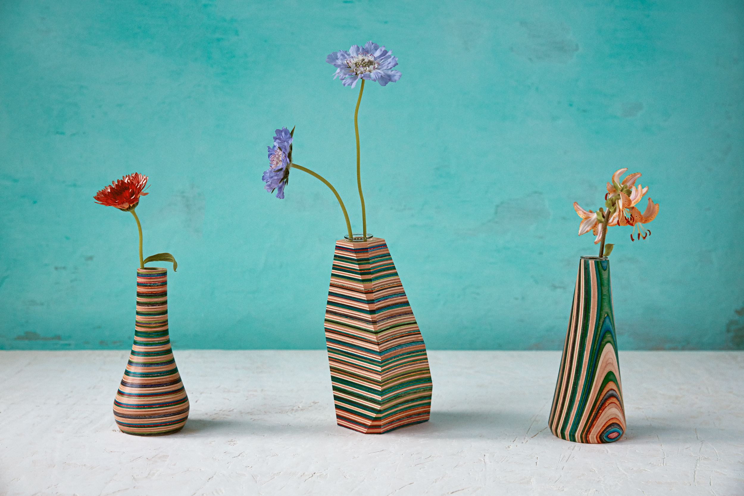 Bud Vases made from recycled skateboards in collaboration with Caju Flora