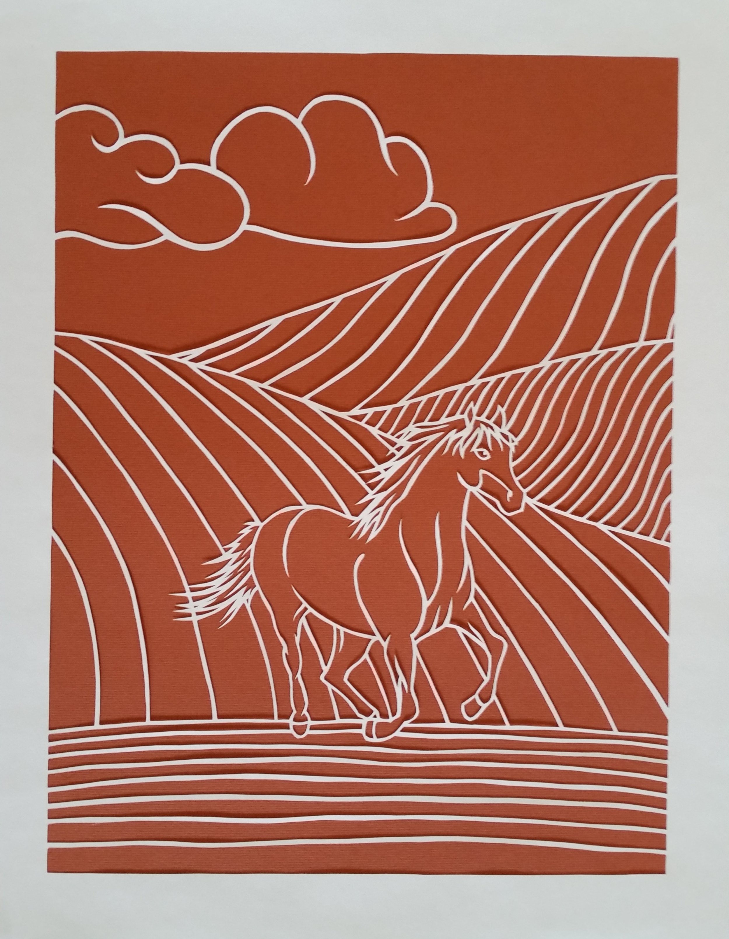 """""""Free to Be""""   Measures 11 x 14 inches. White on orange background.   Contact Us  for purchase details."""