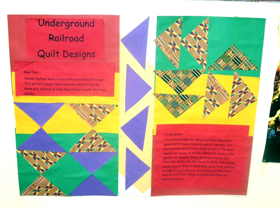 """An Underground Railroad themedPapier-mâchécommunity """"quilt"""" assembled from individual panels created by staff and residents of Geffner House to celebrate Black History Month."""