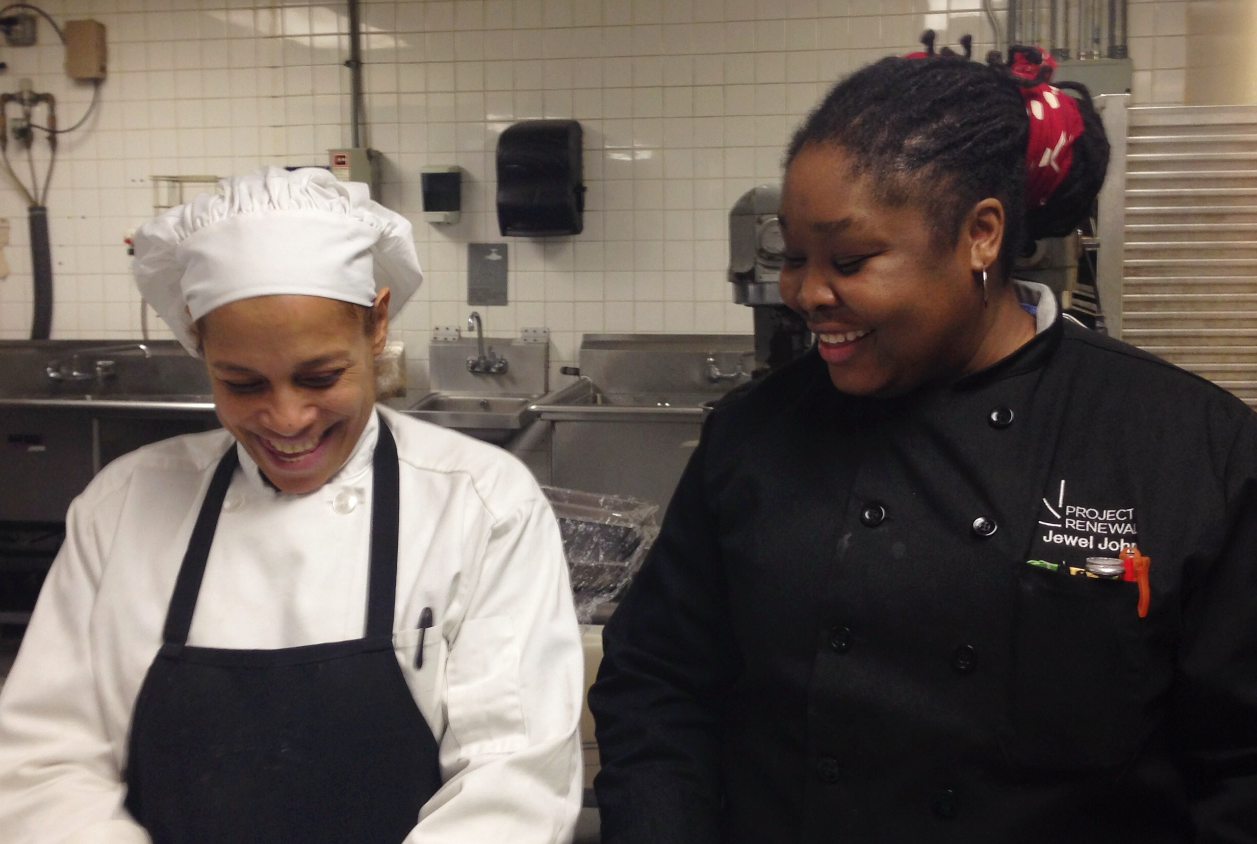 Jewel at right with CATP student Marisol working during class