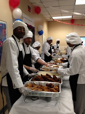 Current CATP students prepared and served a Southern-style buffet and desserts.
