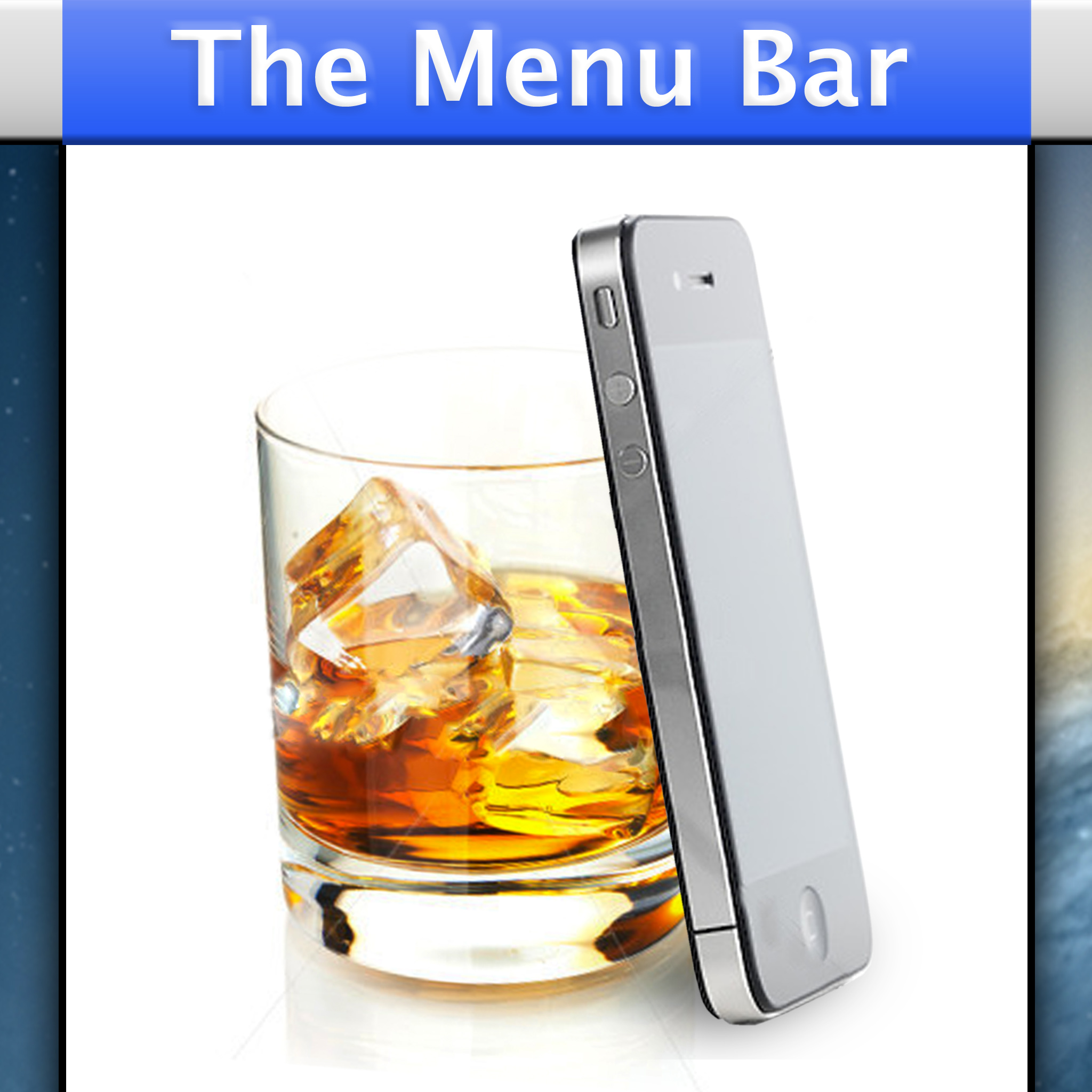 "Next I tried putting some more emphasis on the ""bar"" side of things. A half drunk whiskey glass and an iPhone? Seemed a pretty good summary of what we wanted to talk about. And get it... It's IN the Max OS X menu bar ... Still no good."