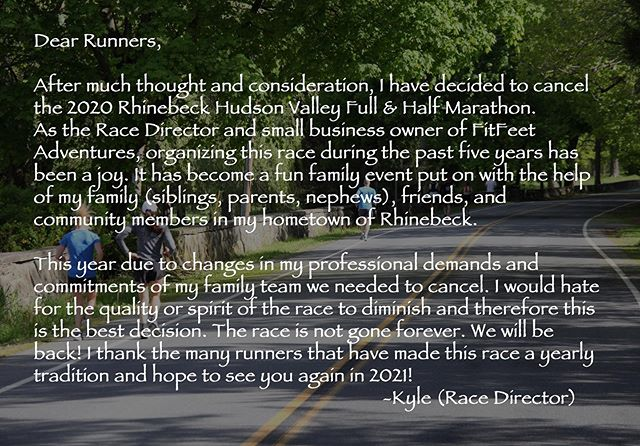 Rhinebeck 2020 Full & Half Marathon Cancellation message. See you in 2021! #rhinebeck #dutchesscounty #dutchesscountytourism #hudsonvalley #running #marathon #halfmarathon