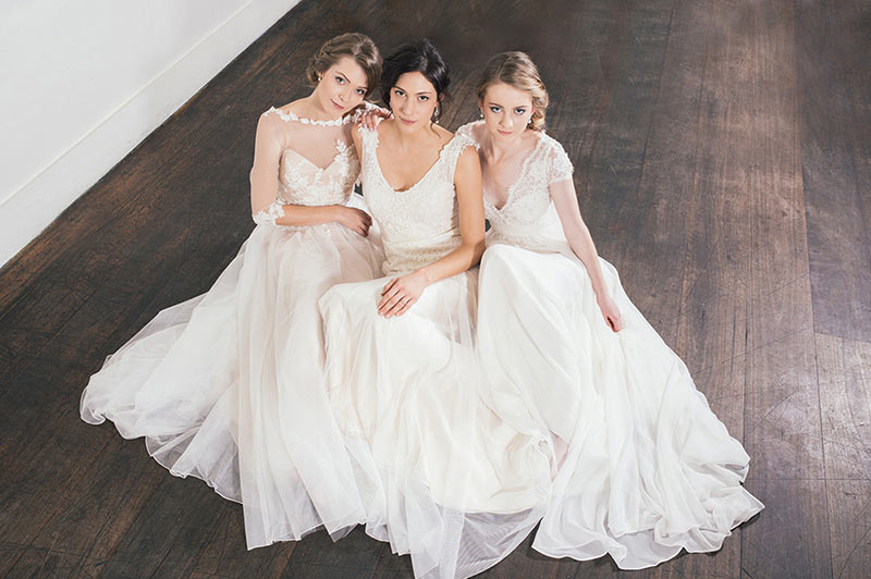Caleche gowns. Photo by Nicholas Purcell Studio