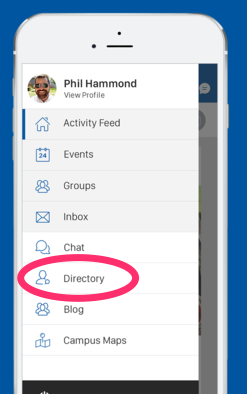 Start chatting with anyone on campus directly from the People Directory.