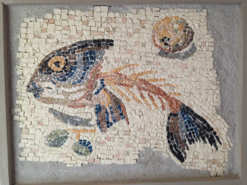 """""""One or two examples of mosaics made using Rapid Resizer for design. Both use 6th century Byzantine techniques. The drinking dove is a replica of a 5th century mosaic in Ravenna in glass smalti and the fish is a detail replica of a larger mosaic called the unswept floor from Aquililea in Italy and is entirely in marble.  I find Rapid Resizer invaluable for creating replica mosaics in particular but also useful for resizing ideas I've photographed.""""  Brenda Wilson"""