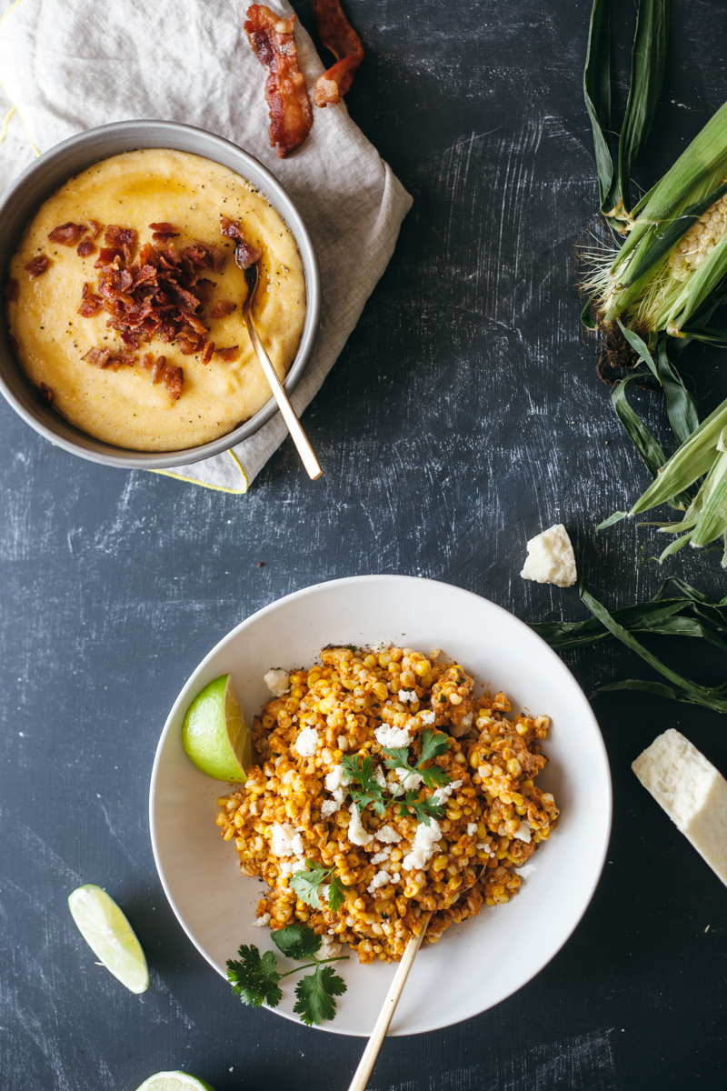 corn, two ways: maple bacon polenta + mexican corn salad