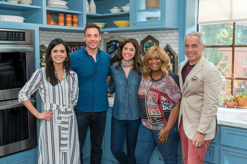 Co-hosts Katie Lee, Jeff Mauro, special guest Molly Yeh, Sunny Anderson, and Geoffrey Zakarian.jpeg