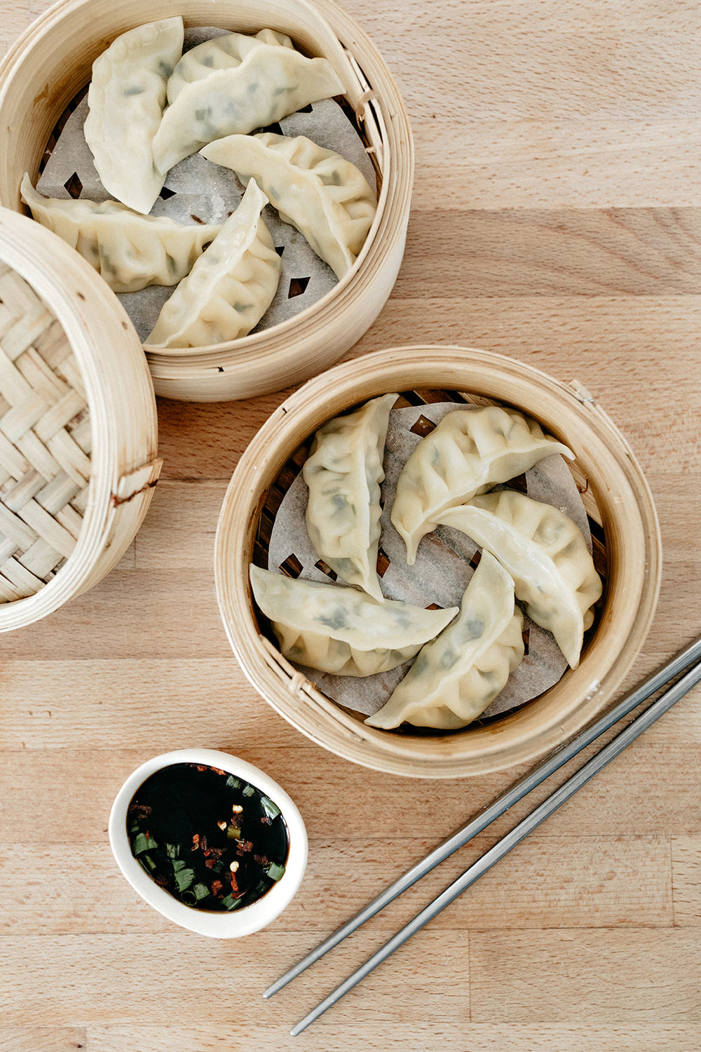 egg and chive potstickers