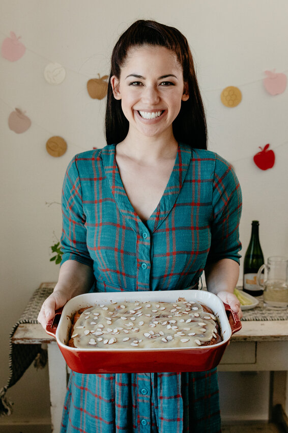 Host Molly Yeh with her Apple Butter Rolls with Honey Marzipan Frosting.jpeg