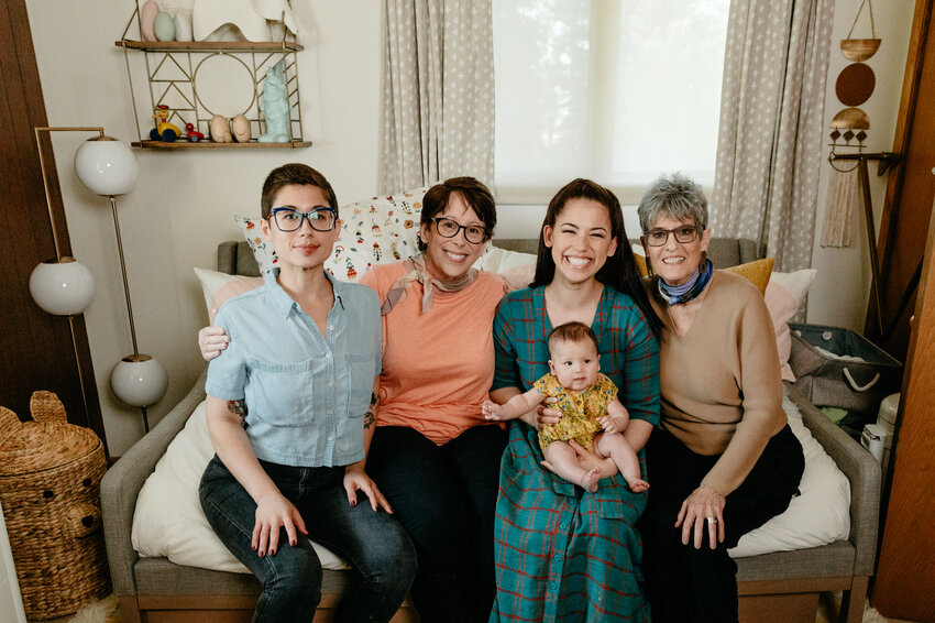 Host Molly Yeh with her sister Jenna, mom Jody, daughter, Bernie, and aunt Cathy.jpeg