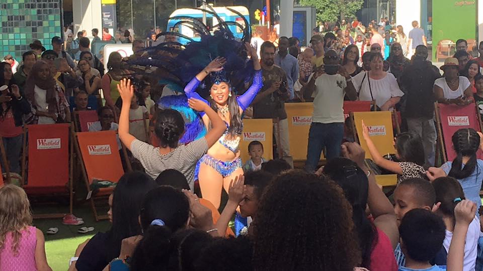 Founder Jean Eu leading a Brazilian samba workshop at Westfield Stratford